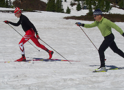 Skier moves onto a flexed ankle.....
